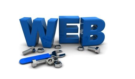3d illustration of text 'web' with wrench and nuts