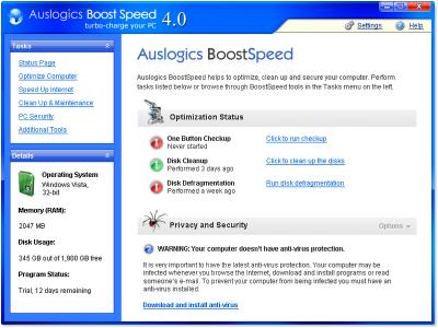 программа AUSLOGICS BOOSTSPEED 5.4.0.10
